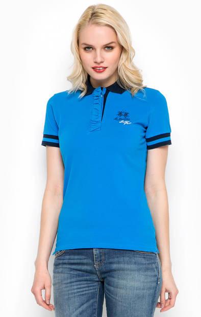 Синяя футболка поло из хлопка