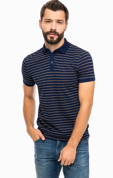 Синяя хлопковая футболка поло в полоску