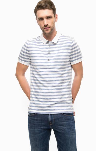 Хлопковая футболка поло в полоску