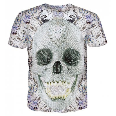 Street Fashion Personality Wacky Creative Diamond Skull 3D Printed T-Shirt Hot Style