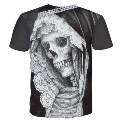 Street Fashion Personality and Creative Lace Skull Head 3D Printed T-Shirt Hot Style