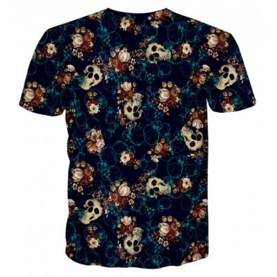Street Fashion Personality and Creative Skull 3D Digital Print T-Shirt Hot Style