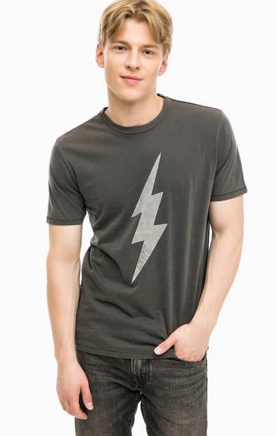 Серая хлопковая футболка с принтом