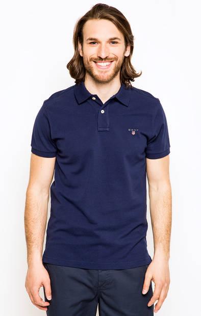 Хлопковая футболка поло синего цвета